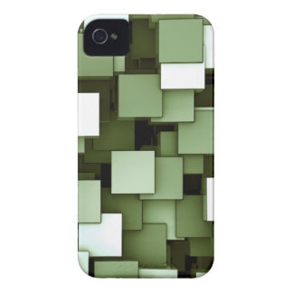 Abstract Futuristic Green Cube Voxel Pattern Case-Mate iPhone 4 Cases