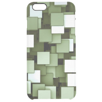 Abstract Futuristic Green Cube Voxel Pattern Clear iPhone 6 Plus Case