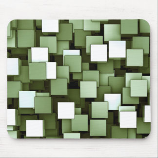 Abstract Futuristic Green Cube Voxel Pattern Mouse Pad