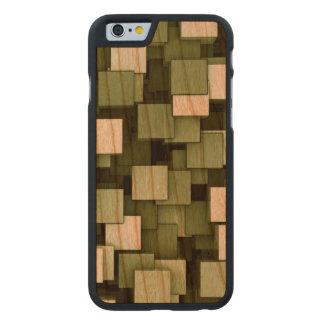 Abstract Futuristic Green Cube Voxel Pattern Carved® Cherry iPhone 6 Slim Case