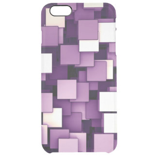 Abstract Futuristic Purple Cube Voxel Pattern Clear iPhone 6 Plus Case