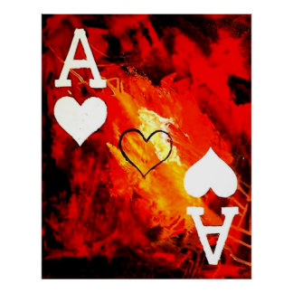 ABSTRACT GALAXY ACES OF HEARTS POSTERS