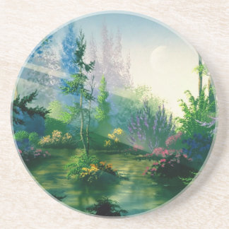 Abstract Garden Early Morning Glow Coasters