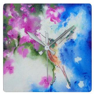 Abstract Garden Hummingbird Square Wall Clock