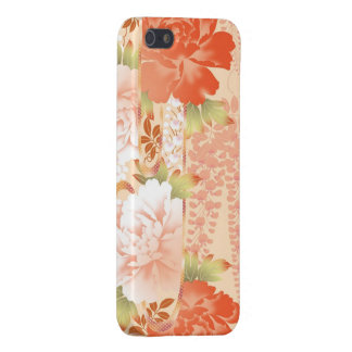 Abstract garden of cream and red peonies iPhone 5 cases