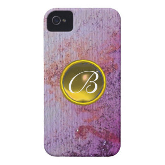 ABSTRACT GEM MONOGRAM purple yellow iPhone 4 Case-Mate Cases