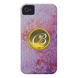 ABSTRACT GEM MONOGRAM purple yellow iPhone 4 Case-Mate Case