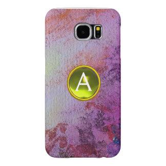 ABSTRACT GEM MONOGRAM purple yellow Samsung Galaxy S6 Cases