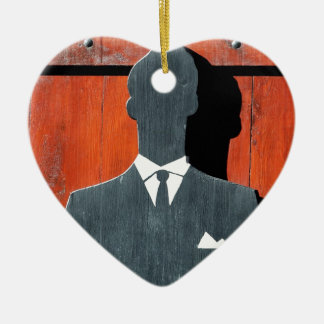 Abstract Gentleman Suit Silhouette Ceramic Heart Decoration