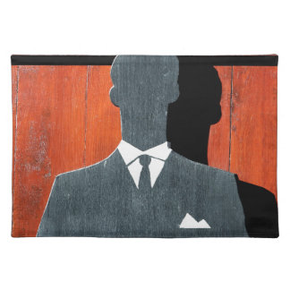 Abstract Gentleman Suit Silhouette Placemats