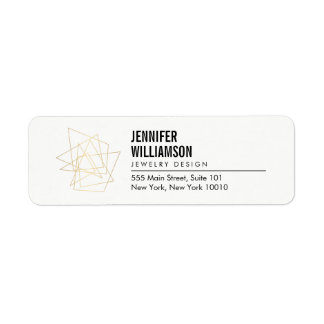 Abstract Geometric Architectural Logo White/Gold Return Address Label