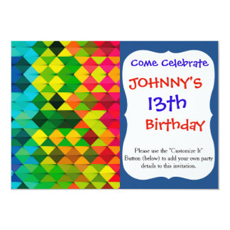 abstract geometric art 13 cm x 18 cm invitation card
