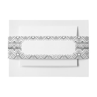 Abstract Geometric Aztec Pattern 2 Invitation Belly Band