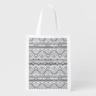 Abstract Geometric Aztec Pattern 2 Reusable Grocery Bag