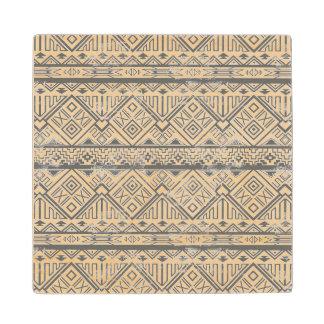 Abstract Geometric Aztec Pattern 2 Wood Coaster
