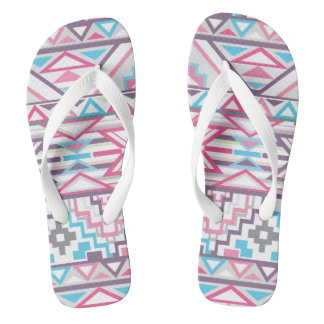 Abstract Geometric Aztec Pattern 3 Flip Flops