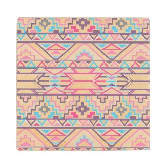 Abstract Geometric Aztec Pattern 3 Maple Wood Coaster