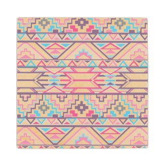 Abstract Geometric Aztec Pattern 3 Wood Coaster