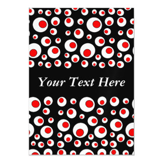 Abstract Geometric Cool Red White Circles Magnetic Invitations