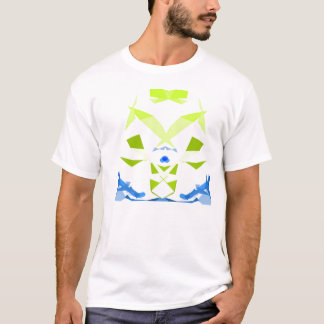 Abstract geometric cyber musketeer in blue & green T-Shirt