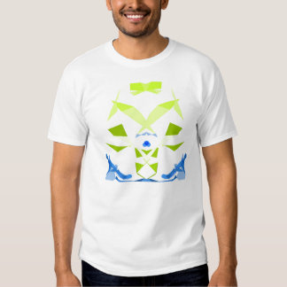 Abstract geometric cyber musketeer in blue & green tshirts