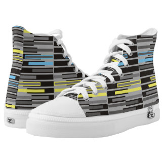 Abstract geometric grey and black stripes printed shoes