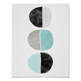 Abstract, geometric, half circles poster in teal