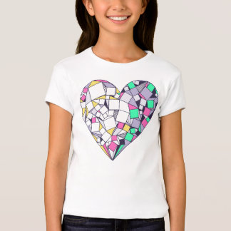 Abstract Geometric Heart Drawing Girls' T-Shirt