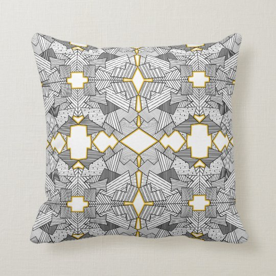 Abstract Geometric Overlap Silver and Gold Cushion