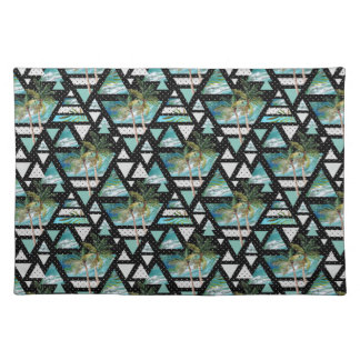 Abstract Geometric Palms & Waves Pattern Placemat