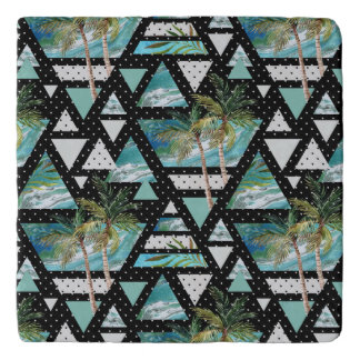 Abstract Geometric Palms & Waves Pattern Trivet
