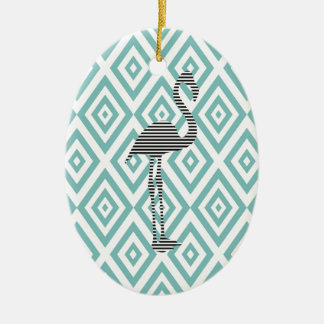 Abstract geometric pattern - blue - flamingo christmas ornament
