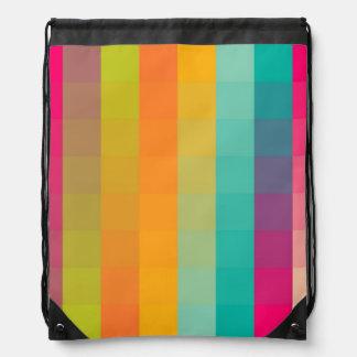 Abstract geometric pattern drawstring bag