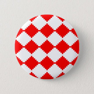 Abstract geometric pattern - red and white. 6 cm round badge