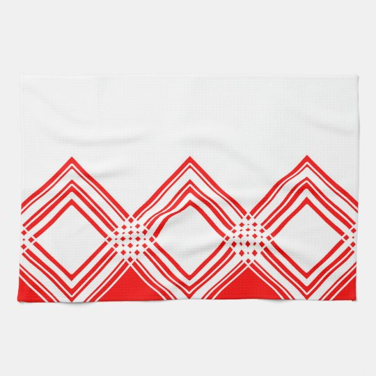 Abstract geometric pattern - red and white. tea