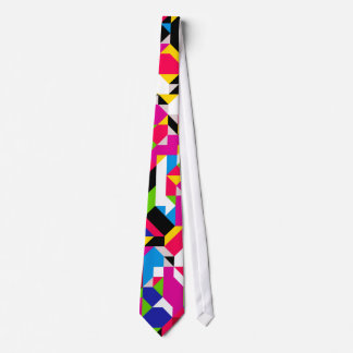 Abstract Geometric Red Pink Blue Colorful Pattern Tie