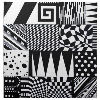 abstract geometric shapes black white pattern hand napkin