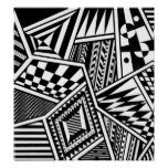 abstract geometric shapes black white pattern hand poster