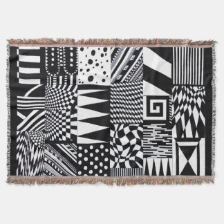 abstract geometric shapes black white pattern hand throw blanket