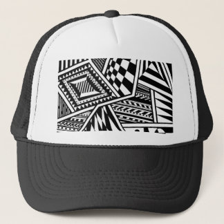 abstract geometric shapes black white pattern hand trucker hat