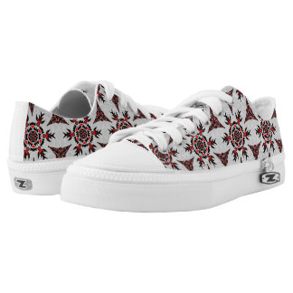 Abstract Geometric Tatto Like Pattern Printed Shoes