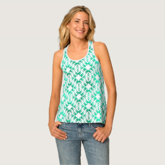 Abstract geometric teal pattern tank top