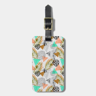 Abstract Geometric Tropical Leaf Pattern Luggage Tag