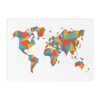 Abstract Geometric World Map Acrylic Wall Art