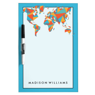 Abstract Geometric World Map Dry Erase Board