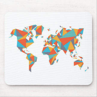 Abstract Geometric World Map Mouse Mat