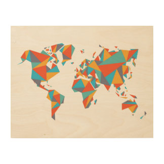 Abstract Geometric World Map Wood Canvas