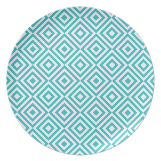 Abstract geometrical squares pattern, aqua white plate