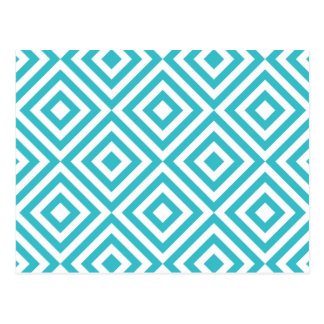 Abstract geometrical squares pattern, aqua white postcard