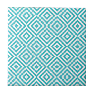 Abstract geometrical squares pattern, aqua white tile